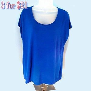 3 / $21 CATO Royal Blue High-Low Short Cap Sleeve